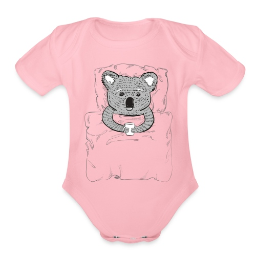 Print With Koala Lying In A Bed - Organic Short Sleeve Baby Bodysuit