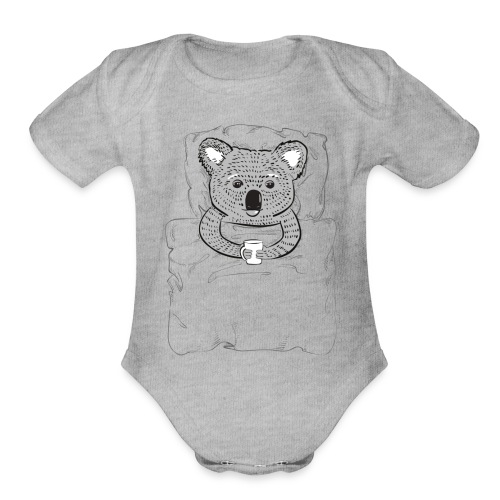 Print With Koala Lying In A Bed - Organic Short Sleeve Baby Bodysuit
