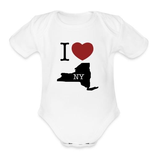 I Love NY T-Shirt - Organic Short Sleeve Baby Bodysuit