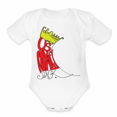 Crown Us Royalty Ink Logo - Organic Short Sleeve Baby Bodysuit