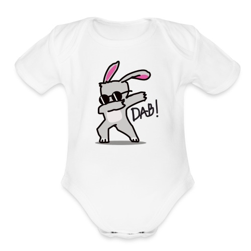 Funny Easter Bunny Dabbing - Organic Short Sleeve Baby Bodysuit