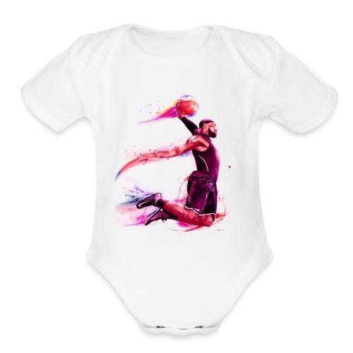 basketball man - Organic Short Sleeve Baby Bodysuit