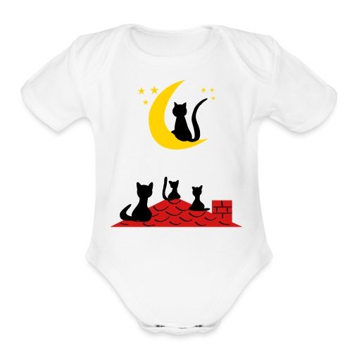 Cats on the roof - Organic Short Sleeve Baby Bodysuit