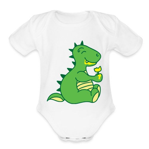 Dinosaurs Love Ice Cream - Organic Short Sleeve Baby Bodysuit