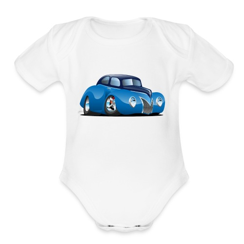 Classic 39 Street Rod Coupe Custom Car Cartoon - Organic Short Sleeve Baby Bodysuit
