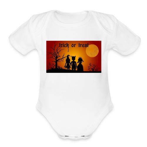 Wallpaper trick or treat Happy Halloween hd - Organic Short Sleeve Baby Bodysuit