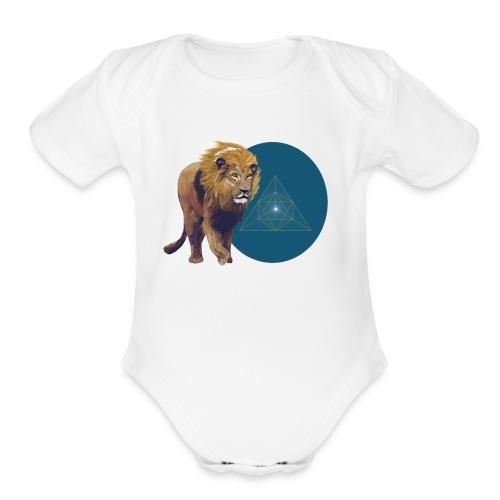 Lion with Tetraeder - Organic Short Sleeve Baby Bodysuit