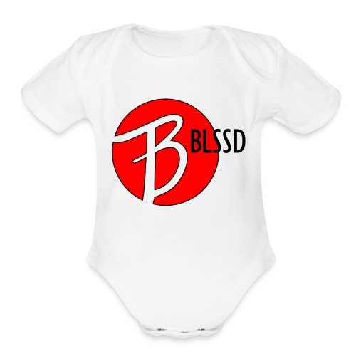 RED BLSSD SHIRT WITH BLACK WRITING - Organic Short Sleeve Baby Bodysuit