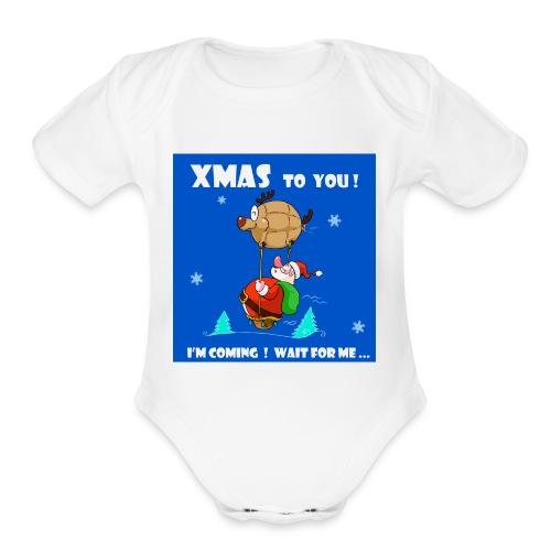 xmas funny tee shirt - Organic Short Sleeve Baby Bodysuit