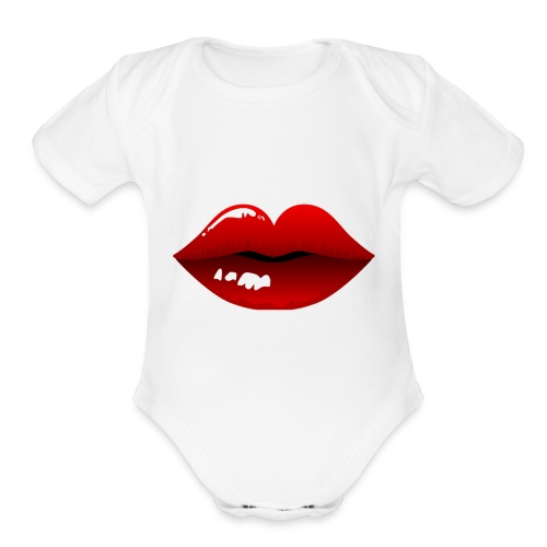 Sugar Kandy Lips - Organic Short Sleeve Baby Bodysuit