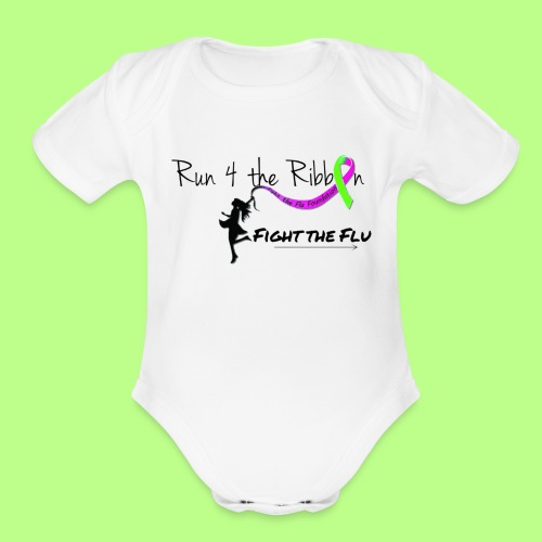 FIGHT THE FLU RUNNING 4 THE RIBBON - Organic Short Sleeve Baby Bodysuit