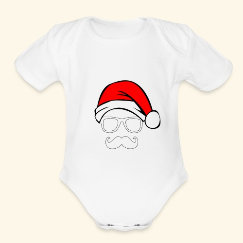Santa with Geek and Mustache - Organic Short Sleeve Baby Bodysuit