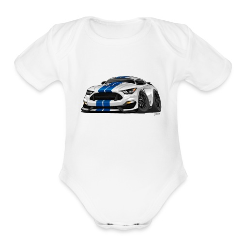 Modern American Muscle Car Cartoon - Organic Short Sleeve Baby Bodysuit