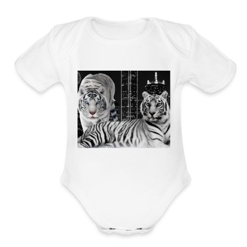 white tigers - Organic Short Sleeve Baby Bodysuit