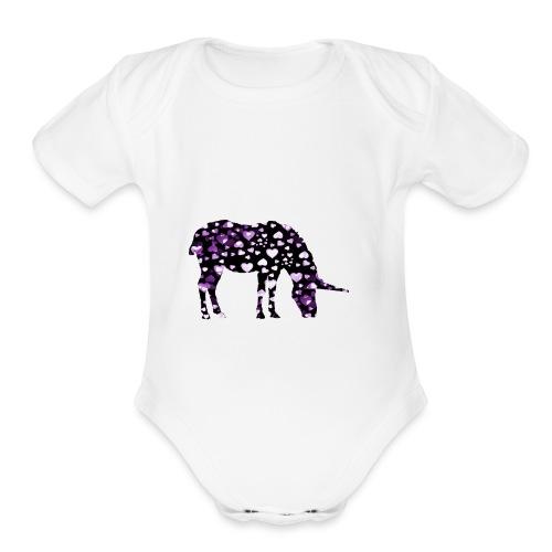 Unicorn Hearts purple - Organic Short Sleeve Baby Bodysuit