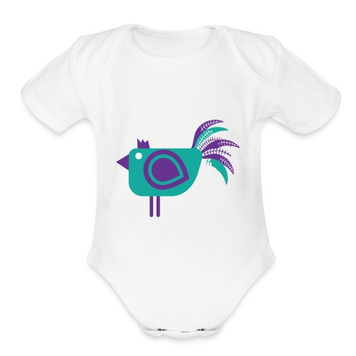 Purple Chicken - Organic Short Sleeve Baby Bodysuit