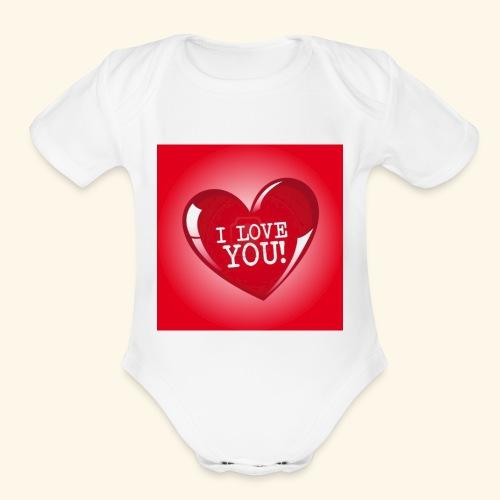 red heart i love you - Organic Short Sleeve Baby Bodysuit