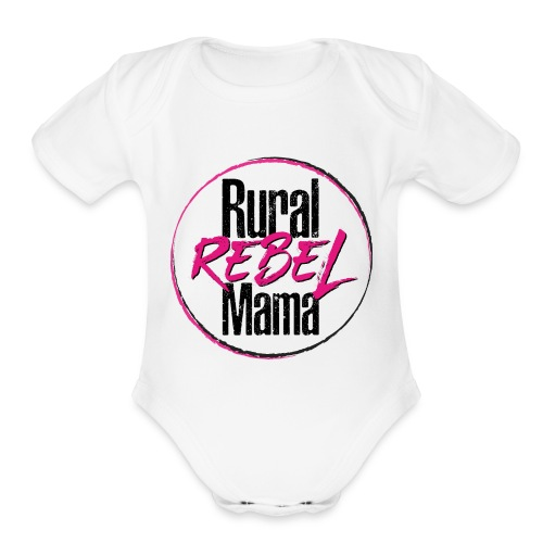Rural Rebel Mama Logo - Organic Short Sleeve Baby Bodysuit