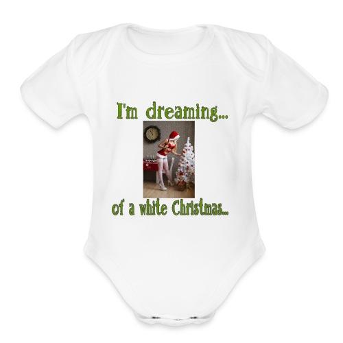 White Christmas - Organic Short Sleeve Baby Bodysuit