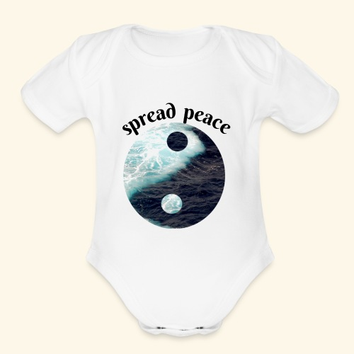 spread peace - Organic Short Sleeve Baby Bodysuit