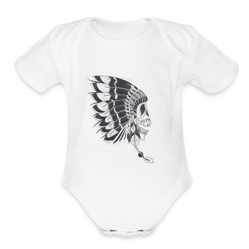 skull mascot - Organic Short Sleeve Baby Bodysuit