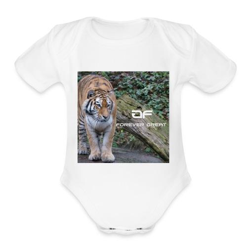 Forever Great tiger design - Organic Short Sleeve Baby Bodysuit