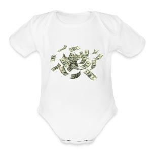 Money flying - Short Sleeve Baby Bodysuit