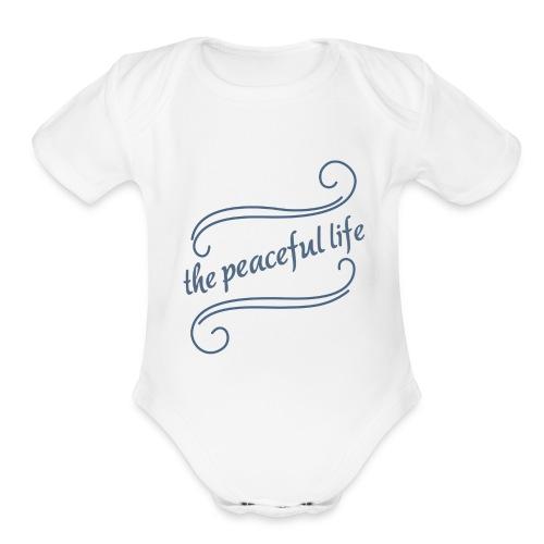 The Peaceful Life podcast Logo - Organic Short Sleeve Baby Bodysuit