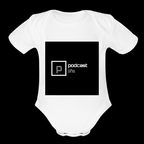 Podcast Life - Black Background - Organic Short Sleeve Baby Bodysuit