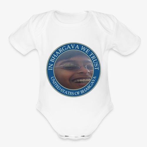 In Bhargava We Trust X Joey Falcus - Organic Short Sleeve Baby Bodysuit