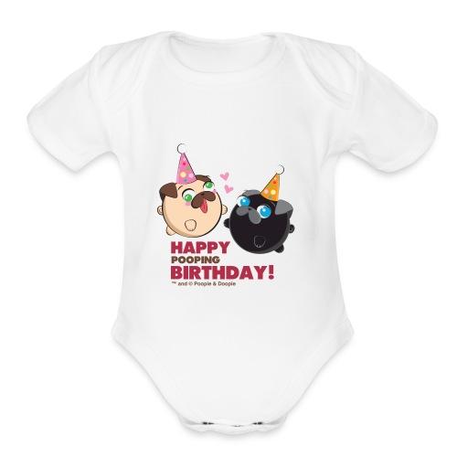 Poopie And Doopie Birthday! - Organic Short Sleeve Baby Bodysuit