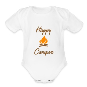 Happy Camping / Outdoor Nature Lover Shirt/ Merch - Short Sleeve Baby Bodysuit