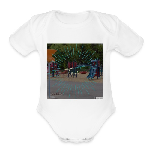 t-shirt cougar canyon tracks - Organic Short Sleeve Baby Bodysuit