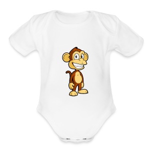 Cartoon monkey - Short Sleeve Baby Bodysuit
