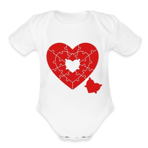 Heart Puzzle - Organic Short Sleeve Baby Bodysuit