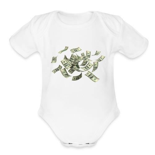 Money flying - Organic Short Sleeve Baby Bodysuit