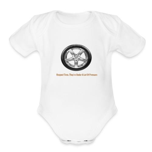 Respect Tires - Organic Short Sleeve Baby Bodysuit