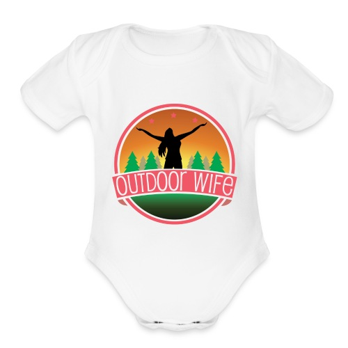 outdoorwifelogowhite 01 01 - Organic Short Sleeve Baby Bodysuit