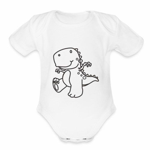 Cute Dinosaur - Organic Short Sleeve Baby Bodysuit
