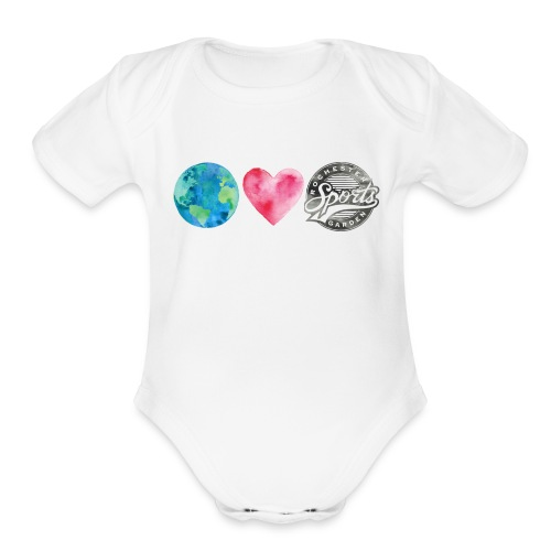Watercolor Sports Garden - Organic Short Sleeve Baby Bodysuit