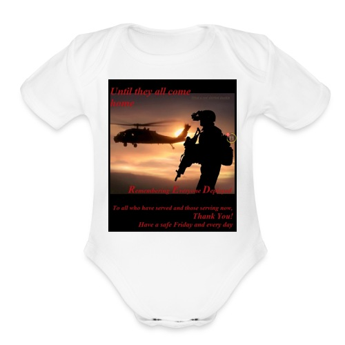 Red Friday respect the military - Organic Short Sleeve Baby Bodysuit