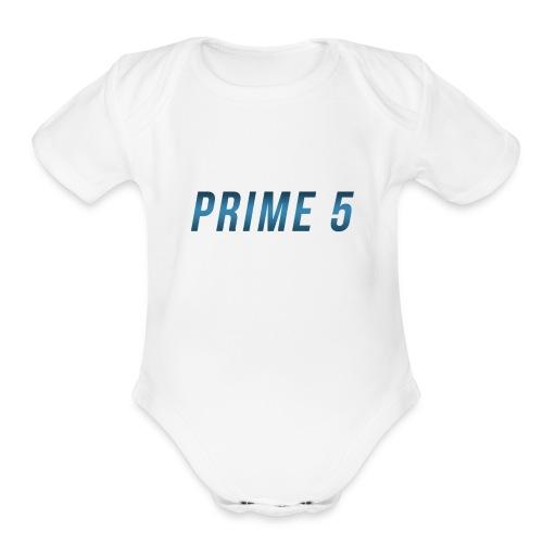 Prime 5 Text Logo - Organic Short Sleeve Baby Bodysuit