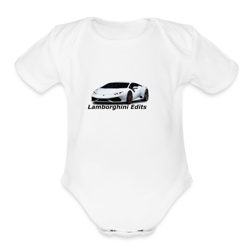 white Lamborghini Huracan Merch - Organic Short Sleeve Baby Bodysuit