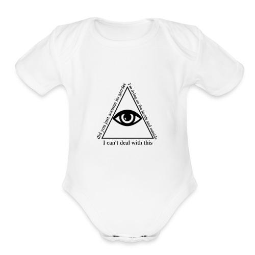 white_eye_w - Organic Short Sleeve Baby Bodysuit
