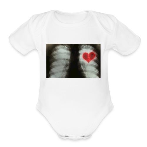 heartbreak jacket - Organic Short Sleeve Baby Bodysuit