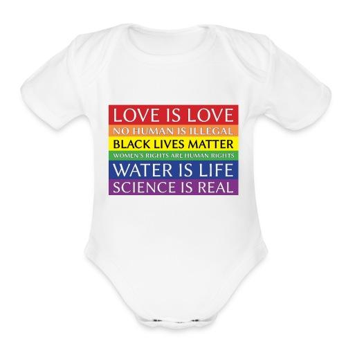 rainbow solidarity - Organic Short Sleeve Baby Bodysuit
