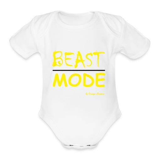 MODE, BEAST-YELLOW - Organic Short Sleeve Baby Bodysuit