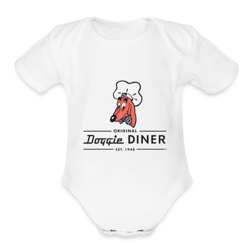 Doggie Diner Logo 1 with NO back color - Organic Short Sleeve Baby Bodysuit