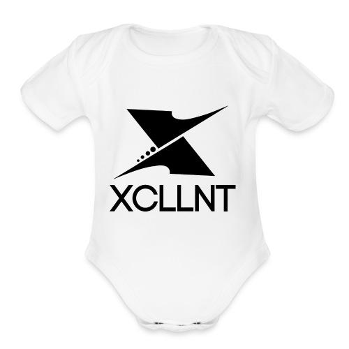 Xcllnt Logo Black - Organic Short Sleeve Baby Bodysuit