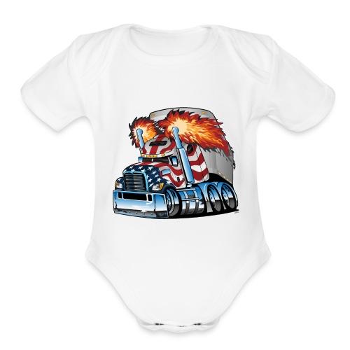 Patriotic American Flag Semi Truck Tractor Trailer - Organic Short Sleeve Baby Bodysuit